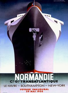 print of a vintage art deco style ad advertising poster for maiden voyage of the Normandie done in 1935