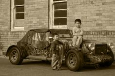 young guys @@ vintage car
