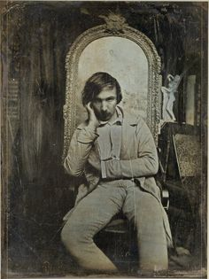 I just found this picture in a very serious website called Gallica. It might be a daguerréotype of Baudelaire taken in the 1850 (he was 29 at that time). Its called Young man sitting in an artist studio but guess what we found on the back of the pictur Old Pictures, Old Photos, Vintage Photos, Book Writer, Book Authors, Books, Cultura Judaica, Writers And Poets, Portsmouth