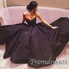 Prom dress 2016, ball gown, black satin long evening dress for teens