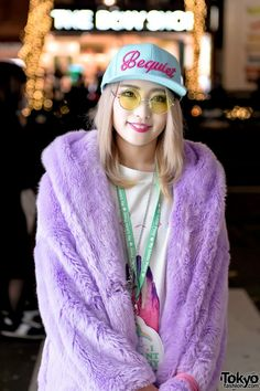 Blonde Harajuku Girl in Faux Fur Coat