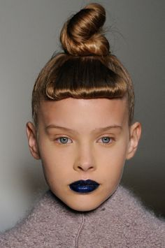 Navy blue lips.