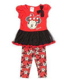 Look at this #zulilyfind! Red Minnie Mouse Tunic & Leggings - Infant & Toddler by Mickey Mouse & Minnie Mouse #zulilyfinds