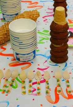 Ice Cream Party Bar #icecream #bar **time waster idea - have the kids decorate their own wooden spoons**