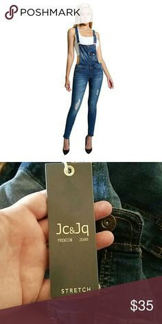 Distressed Jean overalls FINAL PRICE NWT runs small. Skinny fit Jeans Overalls
