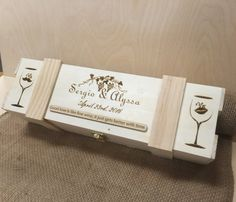 Wooden Wine Ceremony Box with custom name and date engraved on the box! This makes a wonderful gift for the bride