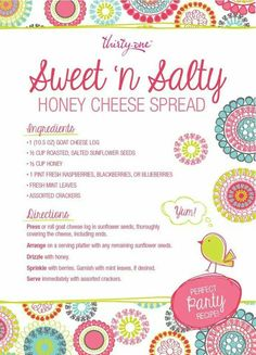 Honey cheese spread