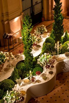 How to bring the outdoors indoors during the fall. You can rent some of beautiful plants and set by your buffet tables.