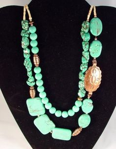 TURQUOISE, COPPER SOUTHWESTERN NECKLACE, $85 RitasGems on ArtFire