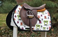 Owls Print Saddle Pad Many Colors  MADE TO ORDER
