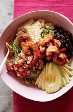 Avocado Shrimp Quinoa Bowl from www.whatsgabycook... (@What's Gaby Cooking)