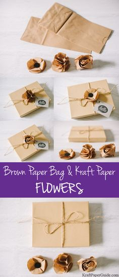 Flowers made out of brown paper bags or Kraft Paper. Perfect for gift wrapping!