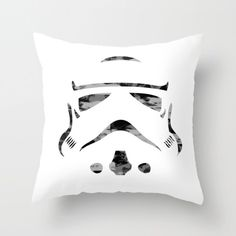 messy trooper throw pillow cover -  monochrome cushion cover - storm throw pillow - black and white by VanillaGreyShop on Etsy https://www.etsy.com/uk/listing/463006590/messy-trooper-throw-pillow-cover