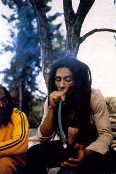 BOB MARLEY SMOKING A COCONUT CHALICE PIPE by BOBO LION