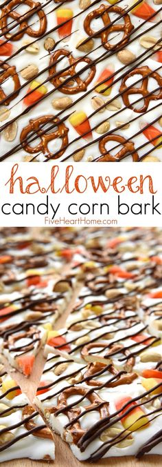 Halloween Candy Corn Bark ~ this sweet and salty homemade candy recipe features white chocolate studded with candy corn, pretzels, and peanuts, then drizzled with semisweet chocolate for a fun and tas (Thanksgiving Chocolate Bark) Halloween Bark, Halloween Chocolate, Halloween Food For Party, Homemade Halloween Treats, Halloween Deserts Recipes, Halloween Ideas, Halloween Pretzels, Halloween Snacks, Halloween Cupcakes