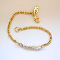 Delicate Gold and CZ Bracelet by oiajules on Etsy, $36.00