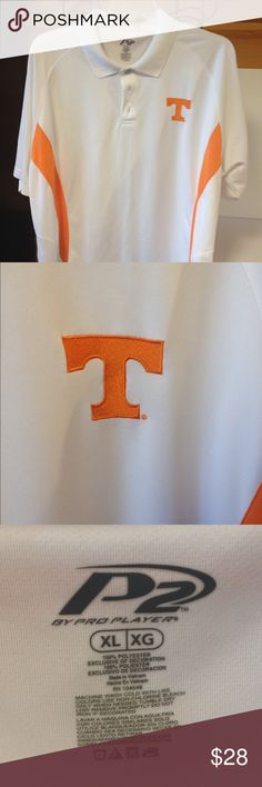 University of Tennessee white polo shirt XL 🚭. Pet free.  Clean.  Perfect for the UT fan.  Size XL.  P2 by Pro Player is the brand P2 Shirts Polos