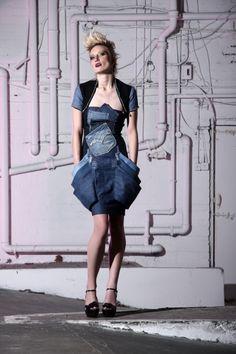 Denim Patch Pocket Dress by Sara Li-Chou Han. £125. Click image to view details/purchase!