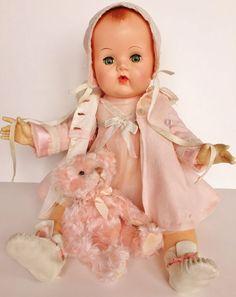 "Vintage 1950's Effanbee Hard to find 21"" Dy-Dee Baby Doll Applied Ears Dress Hat #Effanbee #DollswithClothingAccessories"