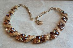 Lisner Gold Tone Brown Champagne AB Rhinestone Gold by cutterstone, $40.00