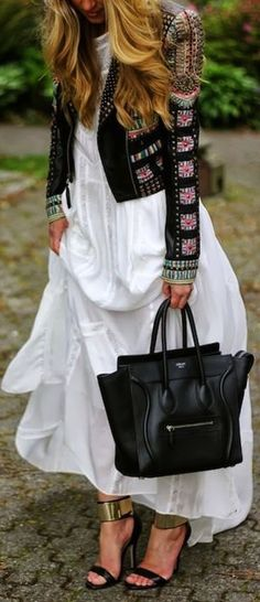 love the billowy white dress paired with the structured embellished leather jacket and the Celine phantom bag!