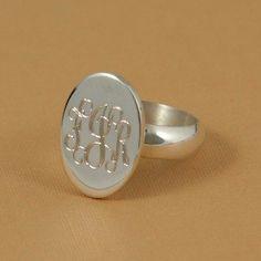Sterling silver monogrammed ring #ChristmasList