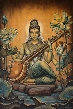 Browse through images in Vrindavan Das' Gods and Goddesses collection. Here I presented paintings about Gods and Goddesses from Vedic scriptures. Saraswati Goddess, Goddess Art, Saraswati Mata, Saraswati Statue, Saraswati Painting, Art Visionnaire, Art Magique, Canvas Art, Canvas Prints
