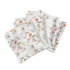 Amarela Dinner Napkins featuring Late Autumn  Blooms by beckra_sew_indigo | Roostery Home Decor #spoonflower #napkins #earlyfalldecorating #fabric #roostery