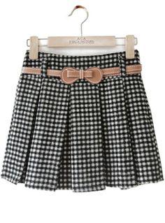 Falda de lana cuadros con cinto-Blanco y negro EUR€14.15