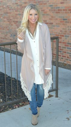 Taupe long sleeve kimono -- with draped open front accented with cream embroidery -- & cream diamond laced back with embroidery underneath -- & cream fringed hem. (100% Rayon) - Our models are both pi