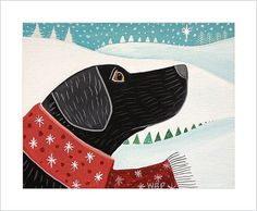 Funky Black LAB DOG wearing Scarf by Wendy by SeaGardenCottage, $14.00