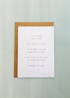 Gewoon JIP. Gedichtje | Kaartje | Papier met zaadjes | Groeipapier |  versje van © Gewoon JIP.