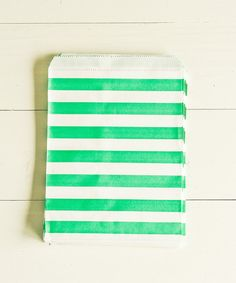 Paper Bags in Seafoam & White Sailor Stripes by thatchandthistleco