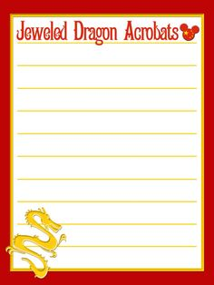 """Jeweled Dragon Acrobats - China - EPCOT - Project Life Journal Card by pixiezilla - Scrapbooking ~~~~~~~~~ Size: 3x4"""" @ 300 dpi. This card is **Personal use only - NOT for sale/resale** These are acrobats who perform in China, EPCOT. Names/clipart belong to Disney. Dragon from www.clker.com . Font is Campanile www.dafont.com/campanile.font *** Click through to photobucket for more versions of this card ***"""