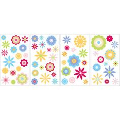 RoomMates Graphic Flowers Peel and Stick Wall Decals  $13.98 for 1pkg. with 4 pages