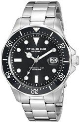 Stuhrling Original Men's 824.01 Aquadiver Quartz Date Black Dial Stainless Steel Bracelet Watch