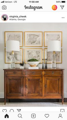 Console table with framed prints for entryway