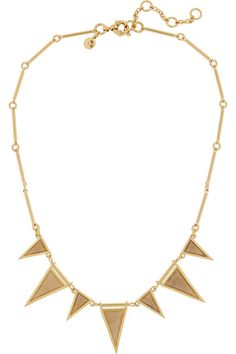 J.Crew|Triangle gold-plated, crystal and fossilized coral necklace|NET-A-PORTER.COM