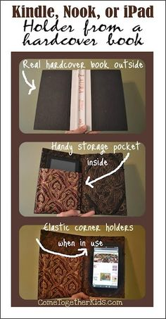 DIY - From Hardcover Book --- Kindle/Nook/iPad  Holder This is cute - a gift for someone?