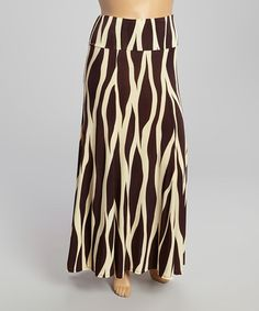 Look what I found on #zulily! Brown & Ivory Wave Maxi Skirt - Plus by Come N See #zulilyfinds