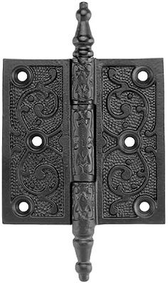 "3 1/2"" Cast Iron Steeple Tip Hinge With Decorative Vine Pattern 