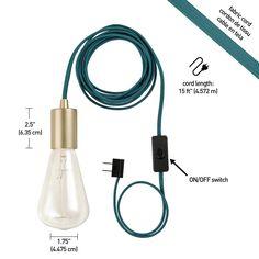 Novogratz 1-Light Teal and Brass Plug-In Exposed Socket Pendant-69997 - The Home Depot