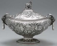 Silver soup tureen---my, oh my, oh my...my heart skipped a few beats when I saw this!!!