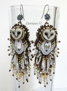 """Owl Earrings by DORNEUV """"Chouette effraie"""""""