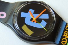 Very Rare Swatch Watch Harajuku vintage by CoolRelics Peter Pan Syndrome, Swatch, Harajuku, Japanese Characters, Plastic Resin, Plastic Storage, Madness, Band, Vintage