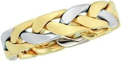 14K Gold Two Tone Men's Wedding Band.