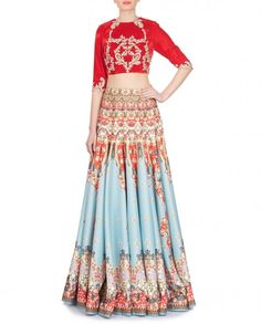 Kim Skirt-Candy Blue skirt with scarlet and jewelled print