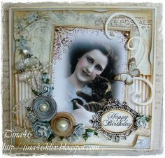 "Vintage Card by DT Member Tina Klix, using papers from Pion Design's ""From My Heart II 12 x12"" collection."