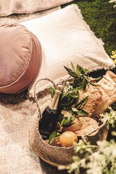 A simple picnic at home: - 2 x neutral rugs - 6 x soft cushions - Picnic basket - Platter items: fresh fruit, Yarra Valley cheese, crackers - Chandon Brut & glasses to serve! Garden Picnic, Yarra Valley, Throw A Party, Fresh Fruit, Platter, Vignettes, Crackers, Tablescapes, Wines