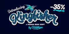 Kingfisher is a bold brush family with Script, casual Caps and Extras. Kingfisher is divided into three styles -regular, distressed and one with stylised cuts that emphasize the brush stroke. Kingfisher is packed with. Brush Script, Kingfisher, Font Family, Fonts, Neon Signs, Desktop, Designer Fonts, Common Kingfisher, Types Of Font Styles